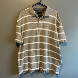 3/$25 TOMMY HILFIGER GREY AND WHITE STRIP POLO
